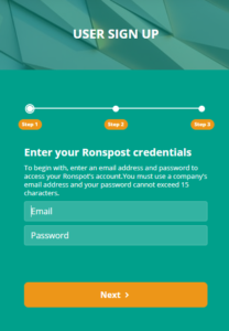User sign-up for Ronspot