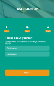 User sign-up for Ronspot 2