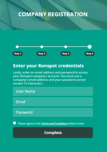 Registering Your Company with Ronspot Freemium - Step 4