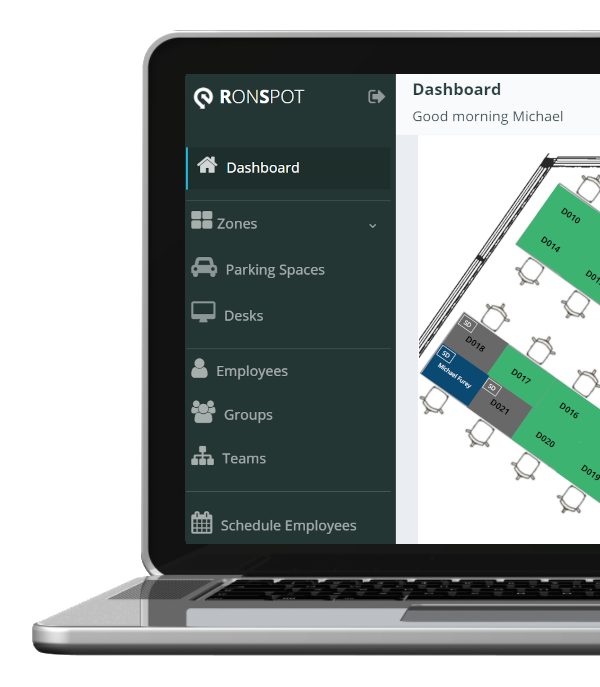 Live view of bookings - Ronspot dashboard