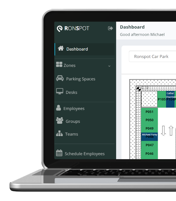 Live view of parking bookings - Ronspot dashboard
