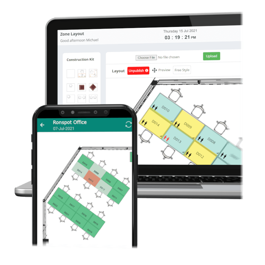Ronspot Interactive Office and Parking maps and floorplans with social distancing