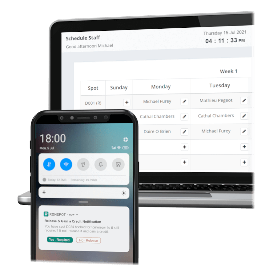Ronspot Parking and Desk booking schedule with auto-release